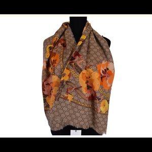 🦋Gucci Large Wool Orange Pansie Blooms Scarf